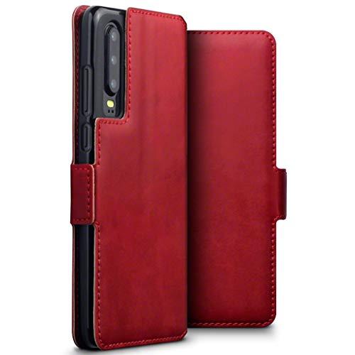 TERRAPIN, Kompatibel mit Huawei P30 Hülle, ECHT Spaltleder Börsen Tasche - Slim Fit - Betrachtungsstand - Kartenschlitze - Rot