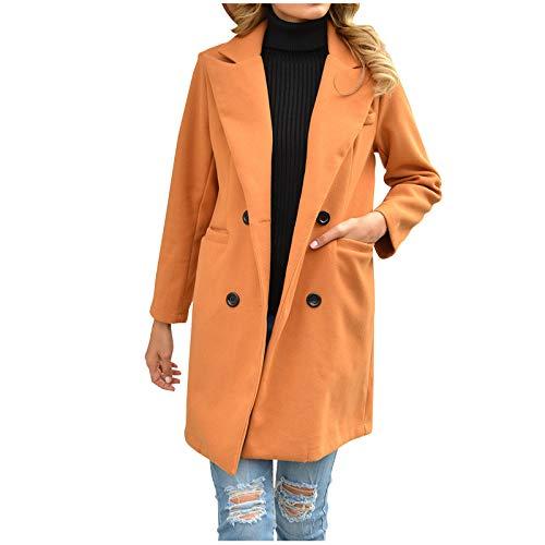 JUTOO Mode Damen einfarbig Revers Wolle Tuch Freizeit Lange Mantel (Khaki,M)