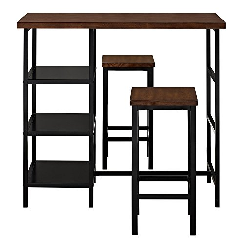 Dorel Living Cosmo 3-Piece Metal Pub Set With Wood Top, Dark Mahogany
