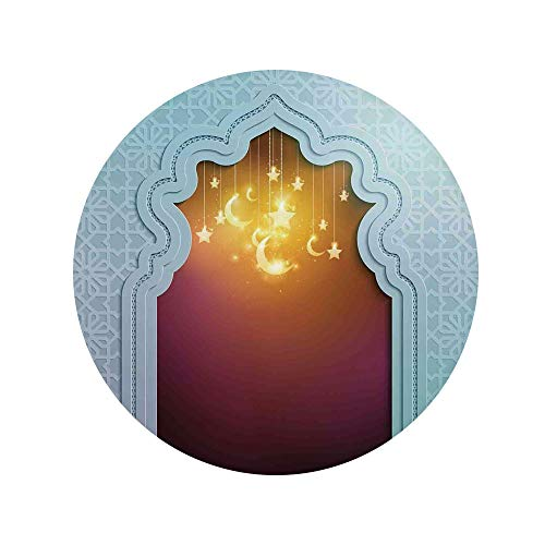 モロッコ、星と月の芸術の言葉ラマダンデザイン装飾的な淡いマルーンアプリコットのモスクのドア 円形マット 円120cm モロッコ 低反発 滑り止め付 床暖房対応 フランネル カーペット 星と月の芸術の言葉ラマダンデザイン装飾的な淡いマルーンアプリコットのモスクのドア