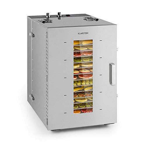 Klarstein Master Jerky - Deshidratador de alimentos, Temperatura ajustable 40-90 °C, DigiSet Control, Carcasa de acero inoxidable, Potencia de 1500 W, Capacidad de 2,5 m², 16 bandejas, Gris metalizado