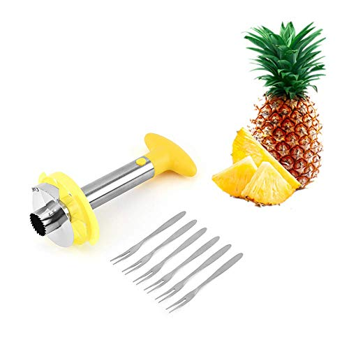 SLKIJDHFB [New Upgrade] Stainless steel pineapple corer slicer tool for home and kitchen, with sharp blade, 3 in 1 pineapple peeler