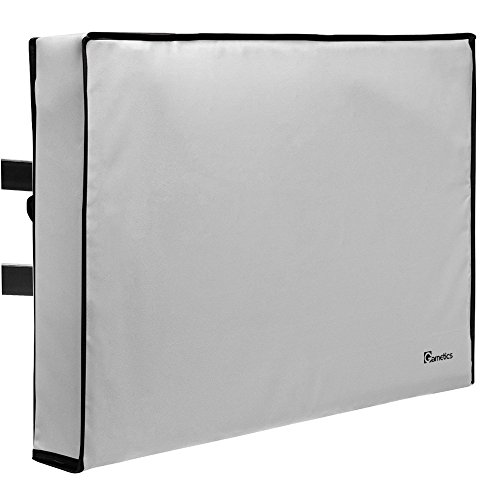 Garnetics Outdoor TV Cover 70'-75' inch - Universal Weatherproof Protector for Flat Screen TVs - Fits Most TV Mounts and Stands - Grey