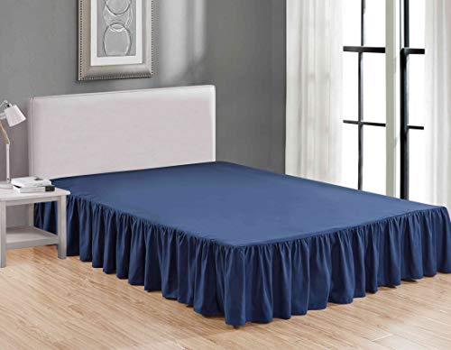 Sheets & Beyond Wrap Around Solid Luxury Hotel Quality Fabric Bedroom Dust Ruffle Wrinkle and Fade Resistant Gathered Bed Skirt 14 Inch Drop (Queen,...