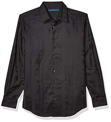 Perry Ellis Men's Long Sleeve Sateen Plaid Shirt