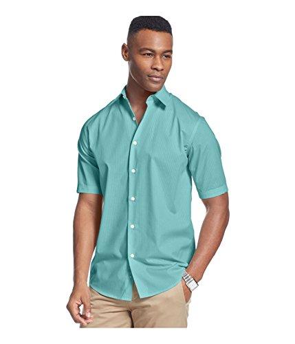 John Ashford Mens Shadow Stripe Button Up Shirt, Blue, Small