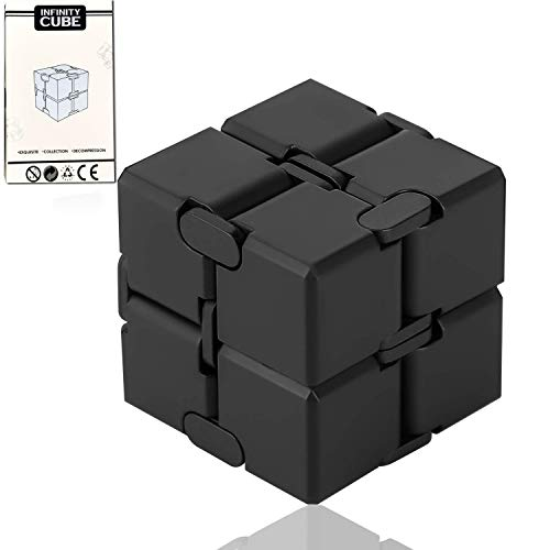 ss shovan Infinity Cube Black Silicone Fidget Cube Toy Hand Killing Time Prime Fidget Toy Infinite Cube for ADD, ADHD, Anxiety, and Autism Adult and Children (Black)