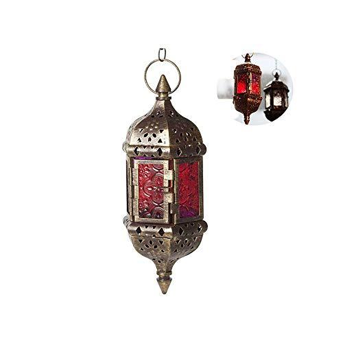 Hangende kaars lantaarn, mystieke decoratieve Marokkaanse kroonluchter retro kandelaar Marokkaans vintage metaal holle bruiloft hangende kandelaar lantaarn bevat 40 cm ketting (bruin)