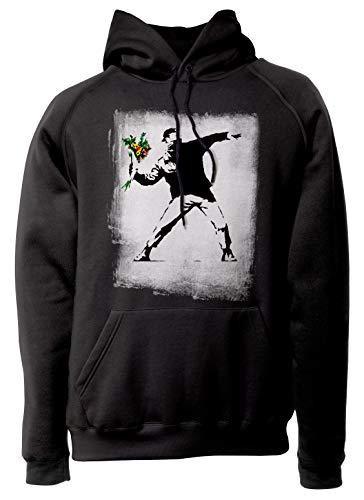 LaMAGLIERIA Unisex-Hoodie Banksy - Flower Bomber Kapuzenpullover, S, Schwarz