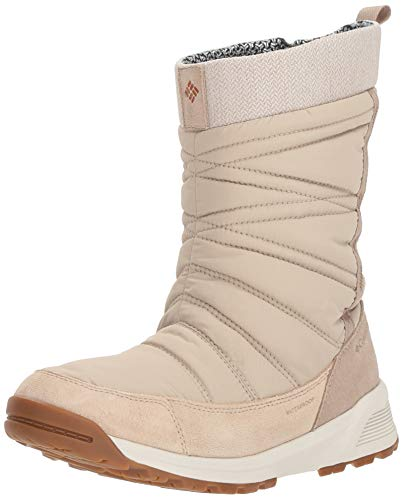 COLUMBIA Damen Wasserdichte Wanderstiefel, MEADOWS SLIP-ON OMNI-HEAT 3D, Beige (Ancient Fossil, Bright Copper), 38 1/2
