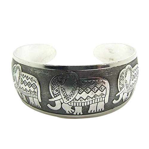 jieGorge Bracelets, Elephant Tibetan Tibet Totem Bangle Jewelry Retro Cuff Wide Bracelet Bangle, Jewelry for Women Gifts (As Show)