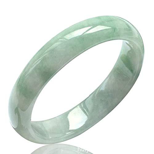 Brazalete De Jade para Mujer Pulsera De Jade Natural Joyas Brazalete De Piedras Preciosas De Color Verde Claro Joyas con Joyero De Gama Alta,62mm