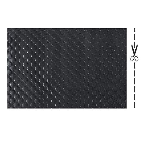 Olivo.shop - Copri pavimenti in gomma isolante su misura. Tappeto in PVC antiscivolo. Passatoia di gomma ammortizzante a metro per Industria. Vari Modelli e Misure. Design a Bolle (NERO, 200x100cm)