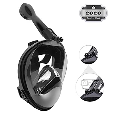 Full Face Snorkel Mask Foldable Snorkeling Mask with Detachable Camera Mount, 180º Panoramic Viewing Diving Mask with Safety Breathing System Dry Diving Set Anti-Fog Anti-Leak for Adults & Youth
