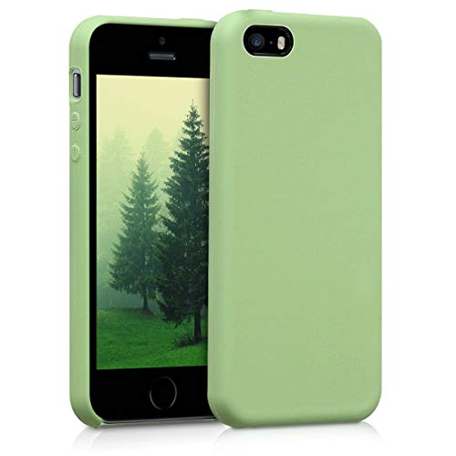 kwmobile Funda Compatible con Apple iPhone SE (1.Gen 2016) / 5 / 5S - Carcasa de TPU para móvil - Cover Trasero en Verde Claro