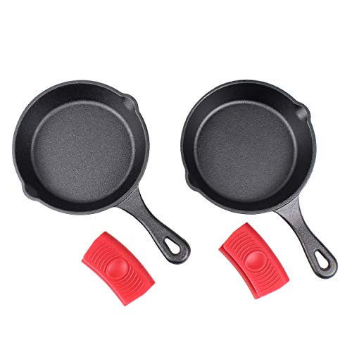 "Crucible Cookware   Juego de 2 sartenes de hierro fundido de 6\"" (pre-sazonado) con 2 agarraderas de silicona para mango caliente"