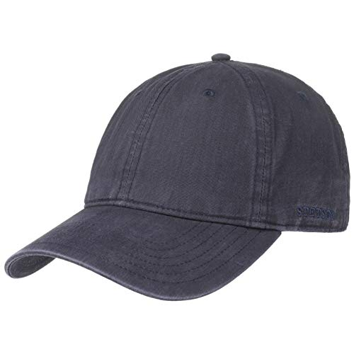 Stetson Ducor Sun Guard Fullcap Herren - Baseballcap aus Bio-Baumwolle (nachhaltig) - Frühjahr/Sommer - Cap mit Sonnenschutz UV 40+ - Basecap Stonewashed-Look - Outdoorcap blau XL (60-61 cm)