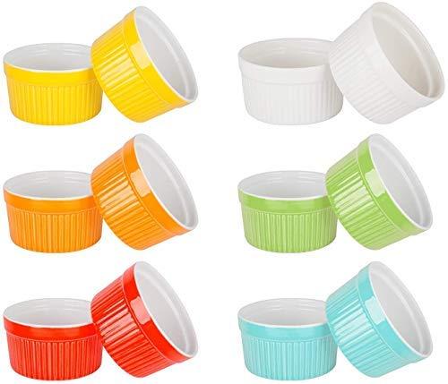 6 onzas de porcelana de soufflé de Ramekins para hornear, platos de crema brulee, taza de pudín de cerámica para mermeladas, helados y postres, seis colores, juego de 12 (seis colores)