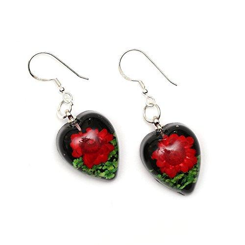 Idin Handmade Earrings - Red pressed flower in black heart resin drop earrings handmade with real flower - sterling silver ear wire (length: 4.5 cm, pendant 1.5 x 2 cm)