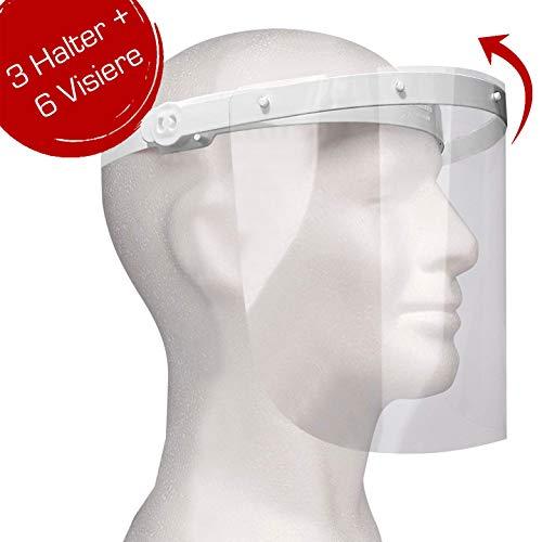 Enka Care Gesichtsschutz Visier aus Kunststoff - Augenschutz Spuck-Schutz - Premium Gesichtsschild - Face-Shield -1 x Halterungen mit je 2 Wechselfolien (3Halter-6 Visier)