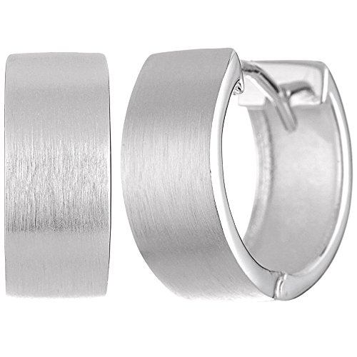 Vinani Klapp-Creolen rund mattiert Sterling Sterling Silber 925 Ohrringe CMB