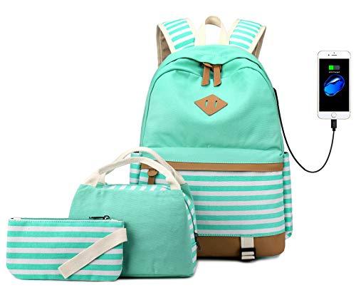 Teenager Mädchen Canvas Stripe Rucksack passt 15,6'Laptop mit USB Lade Port Handtasche...