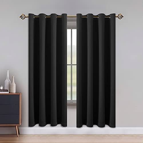 SHEEROOM Blackout Curtains for Bedroom, Solid Thermal Insulated with Grommet Noise Reduction Window Drapes, Room Darkening Curtains for Living Room 2 Panels 52 x 84 inch Black