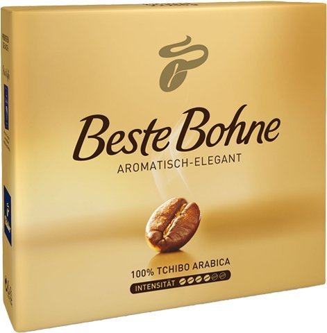 2 Packs of Tchibo Beste Bohne Ground coffee 17.6oz/500g