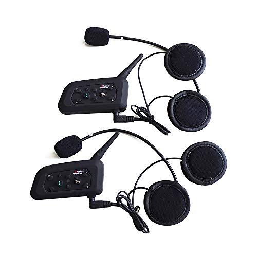 Motorcycle Intercom Bluetooth Helmet Headset ESoku V6 BT 1200 Meter Full Duplex Motobike Wireless Headphone 6 Riders Communicator Talk for Skiing Motorbike Camping (2 Sets)