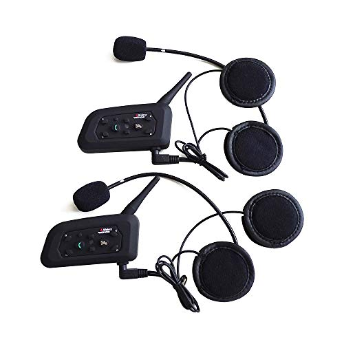 Motorcycle Intercom Bluetooth Helmet Headset ESoku V6 BT 1200 Meter Full Duplex Motobike Wireless Headphone 6 Riders Communicator Talk for Skiing Motorbike Camping (2 Sets)