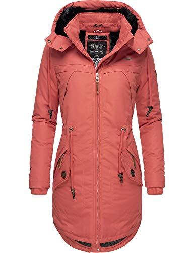 Marikoo Damen Winterparka Wintermantel mit Abnehmbarer Kapuze Kamii Orange Gr. XS