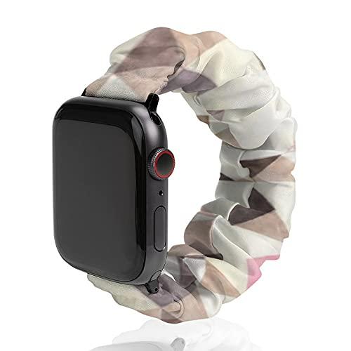 Cinturino da uomo e donna compatibile con Apple Watch 42 mm/44 mm, morbido elastico di ricambio per iWatch Series SE 6/5/4/3/2/1, acquerello marrone marrone moka rosa triangoli