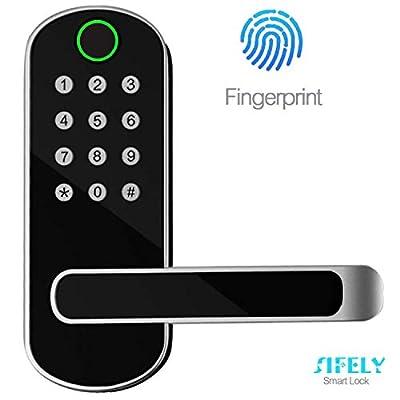 Sifely, Keyless, Fingerprint, Biometric, Keypad Entry, Passcode Code, Digital Door (Smart Lock), Satin Nickel