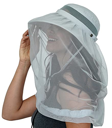 GearTOP Safari Hat with Net and UPF 50+ Sun Protection for Man and Women (Light Grey)
