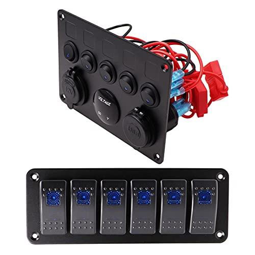 LIANGJIN Panel de interruptores de automóviles de Barco 12V Outlet Panel de zócalo Azul LED Voltímetro Dual USB Adaptador de alimentación Cargador Ajuste para Barco Barco Marine RV TR