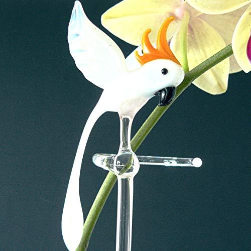 Orchideenstab aus Glas mit Kakadu, Blumenstab, Orchideenstäbe, Lauscha, Handarbeit