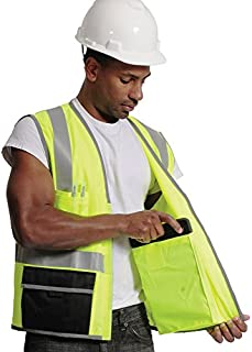 Galeton 12277-XXL-LI Illuminator Bold Class 2 Surveyor's Safety Vest with iPad Pockets and Additional Reflective Piping, 2X-Large, Lime