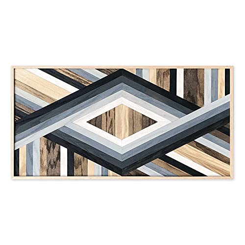 Birch & Buffalo Olympia Wall Art | Unique Hanging Wooden Art Decor | Handcrafted from Reclaimed Oak Wood | Boho Framed Artwork for Home & Office Walls | Ready to Hang, 18x36 inches