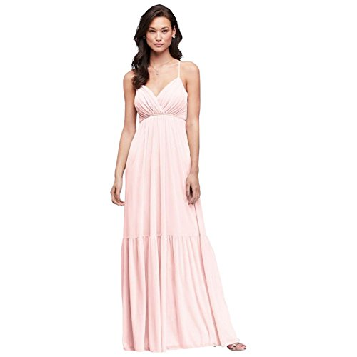 David's Bridal Surplice Mesh Bridesmaid Dress with Peasant Skirt Style F19771, Petal, 24