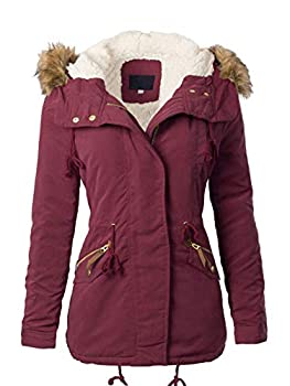 MixMatchy Women s Faux Fur Hoodie Sherpa Lined Military Safari Utility Fashion Jacket Wine S