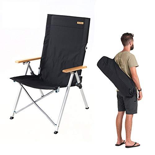 GHH Chaise De Camping Fauteuil Pliable Porte-Boisson Sac De Transport 3 Dossiers Réglables De Loisirs Pêche Chaise De Plage De Camping (Poids Maximum 140kg),Black