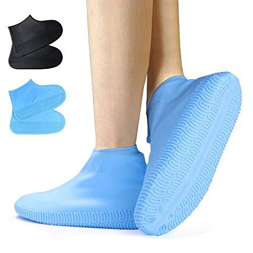 SANBLOGAN Silikon Überschuhe,2 Pack blau und schwarz Regenüberschuhe Wiederverwendbare wasserdichte Überschuhe, rutschfeste, Robuste Schuhschoner Für Regen, Schneetag, Schlammige Straßen