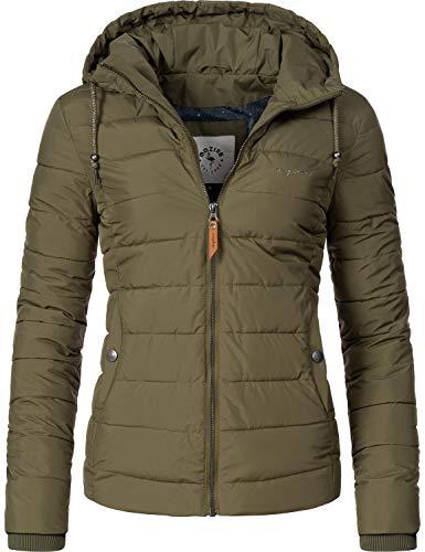 mazine Damen Winterjacke Steppjacke mit Kapuze Juneau Grün Gr. XL