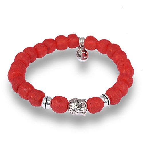 Anisch de la Cara Hombre Pulsera Royal Red - Brazalete Krobo Beads Antik Silber African Soul - Arte no 5570-e