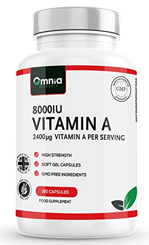 Vitamin A 8000 IU for Healthy Immune System, Healthy Skin and Normal Vision |180 High Strength Softgel Capsules | 2400 μg Per Serving | Made in The UK by Omnia NUTRIENTS