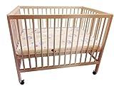 Baby-Bett Gitterbett auf Rollen mit Matratze 100 x 70 cm