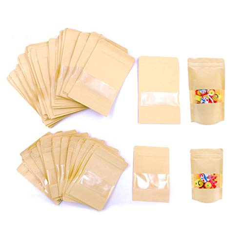 JZK 100 x Resellable bolsas de papel kraft marrón con ventana cierre zip para llevar comida almuerzo fruta pan dulces galleta sándwichera, 50 pcs 10x15 cm + 50 pcs 12x20 cm