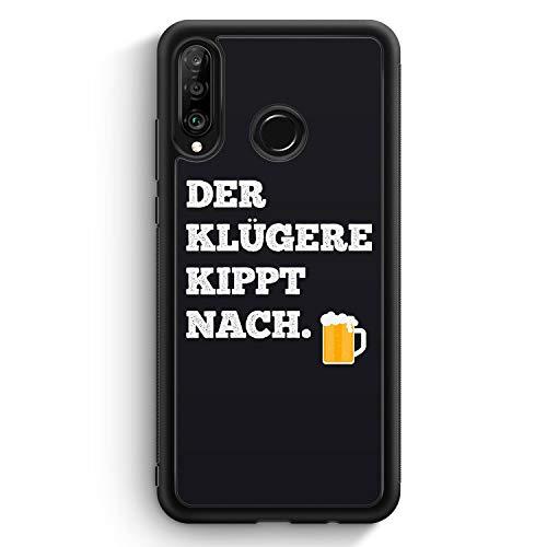 MUNIQASE Der Klügere Kippt Nach. Bier - Silikon Hülle für Huawei P30 Lite - Motiv Design Spruch Lustig Cool Witzig - Cover Handyhülle Schutzhülle Hülle Schale