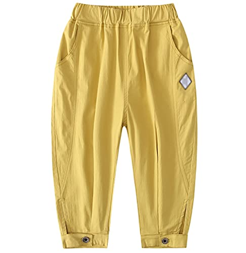 ZRFNFMA Novena Pantalones de Verano Infantil Ropa de Niños de Algodón Delgado Grande Niños Simple Moda Pantalones Amarillo 130cm
