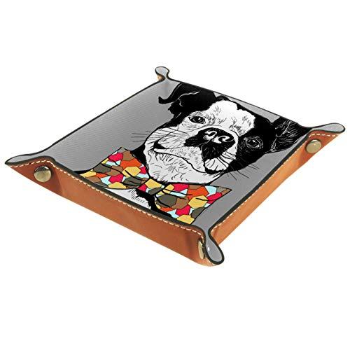 Tablett aus PU-Leder, für Damen und Herren, zur Aufbewahrung von Schmuck, Schlüsseln, Münzen, Handy, Schmuck, Geldbörse, cooler Hund